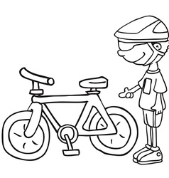 Black and white boy and his bicycle vector