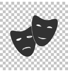 Theater icon with happy and sad masks dark gray vector