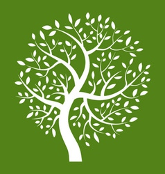 White tree icon on green background vector