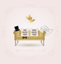 abstract he said yes and she said yes pillows card vector image vector image