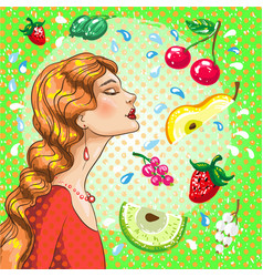 beautiful girl with fruits vector image vector image