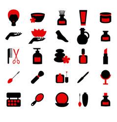 beauty and makeup icons beauty and makeup icons vector image