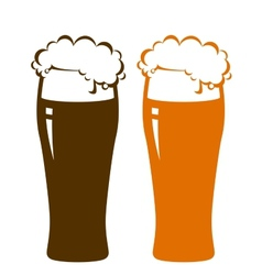 Beer glasses with foam vector