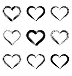 black brush strokes hearts vector image vector image