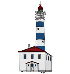Blue and white lighthouse vector
