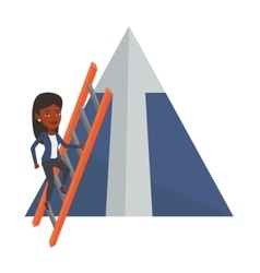 Businesswoman climbing on mountain vector