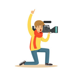 camera operator ready to recording news video vector image vector image