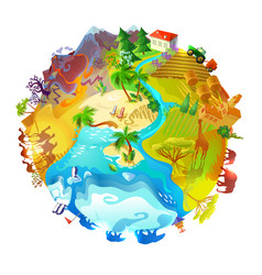 cartoon earth planet nature concept vector image vector image