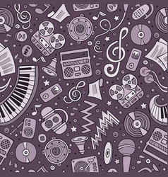 cartoon hand-drawn musical instruments seamless vector image vector image