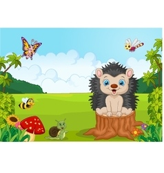 Cartoon sweet hedgehog in the jungle vector