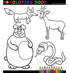 Cartoon Wild Animals for Coloring Book vector image
