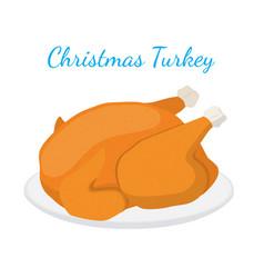 christmas turkey thanksgiving food flat vector image