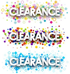 Clearance colour banners set vector