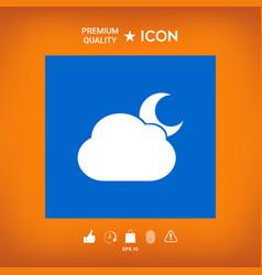 Cloud moon symbol icon vector