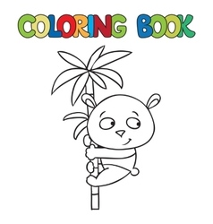 Coloring book of little panda on bamboo vector