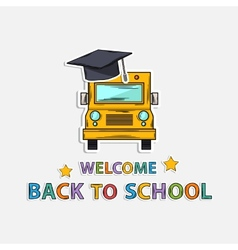 Concept Icon back to schoolschool bus hat text vector image