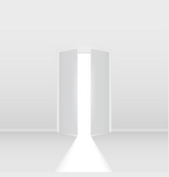 Double open door on white background for vector