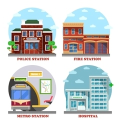 Fire station and hospital building metro police vector