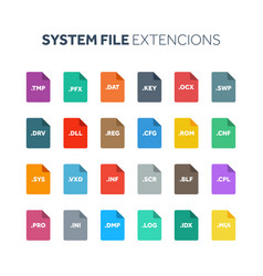 Flat style icon set system file type extencion vector