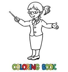 Funny teacher coloring book vector