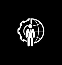 Global integration icon flat design vector