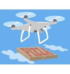 Gray drone quadcopter fly in blue sky Pizza vector image vector image