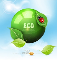 green globe with leaves vector image