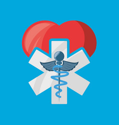 Heart with medicine and hospital symbol vector