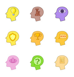 Human head with different thoughts icons set vector