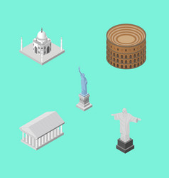 Isometric travel set of coliseum athens new york vector