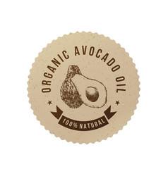 Organic avocado oil emblem vector