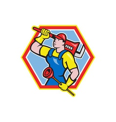 Plumber holding plunger wrench cartoon vector