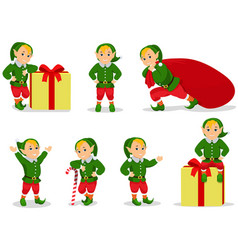Set of cartoon christmas elves vector