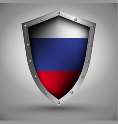 Shield with the russian flag vector