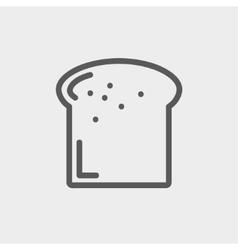 Single slice of bread thin line icon vector