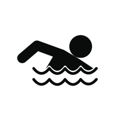 Swimmer black simple icon vector