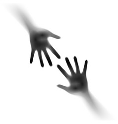 Two open hands in the mist on white of designer vector