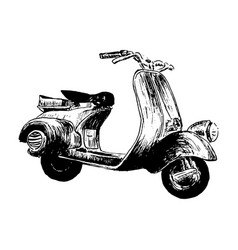 vintage motor scooter hand vector image vector image
