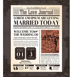 Vintage Newspaper Wedding Invitation Template vector image vector image