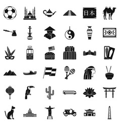 World tourism icons set simple style vector