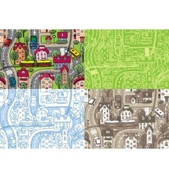City seamless pattern set vector