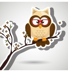 Owl beige tree leaves beige vector