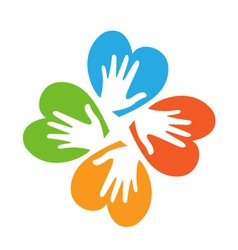 Colored hearts with hands logo vector