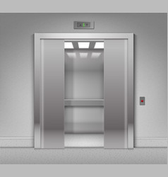 Half-open chrome metal office building elevator vector