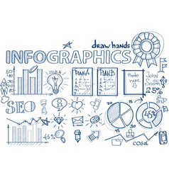 seo hand draw infographic vector image
