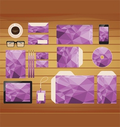 Geometric purple brand identity business style vector