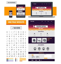 One page website template vector
