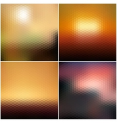 Blurred hexagonal backgrounds set with sea vector