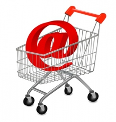 shopping cart with e mail vector image