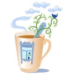 Mug with a window vector